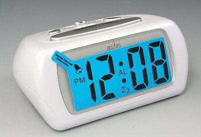 Acctim White Auric Alarm Clock Blue LCD Battery Operated Digital Lighted • 14£