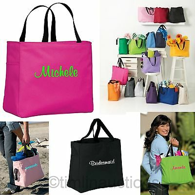 £40.95 • Buy 8 Bridesmaid Gift Personalized Tote Bag Wedding Party Monogrammed Embroidered