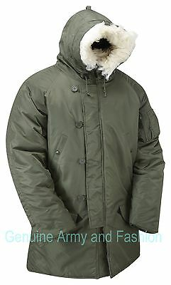 $ CDN110.30 • Buy Army Military Style N3B Parka Insulated Padded Snorkel Hooded Jacket Coat Olive
