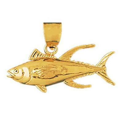 14k Yellow Gold TUNA FISH Pendant / Charm, Made In USA • 143.99$