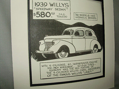 1939 Willys Speedway Auto Pen Ink Hand Drawn  Poster  Automotive Museum Archives • 19.88$