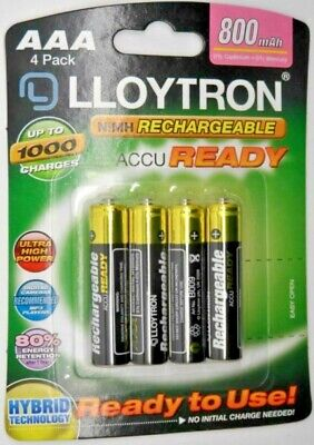 4x AAA RECHARGEABLE BATTERIES LLOYTRON COMPATIBLE WITH BT SYNERGY 4500 5500 6500 • 3.75£