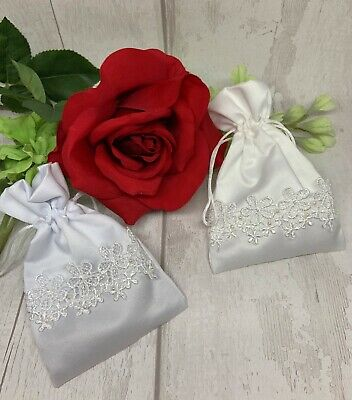 5 Satin Lace & Pearl WEDDING RING Or FAVOUR Pouch / Bag 4x6 Inch Ivory Or White  • 4.50£