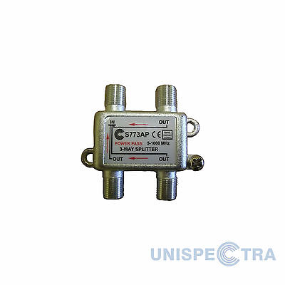 3 Way TV Pro Splitter Cable VIRGIN DBOX Freeview 5-1000MHz F Connectors DC Pass • 3.44£
