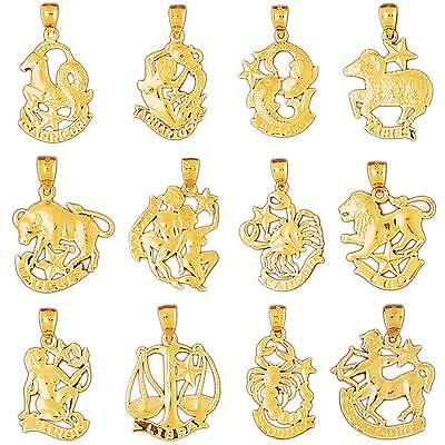 14K Yellow Gold ZODIAC Pendant / Charm, Made In USA • 107.99$