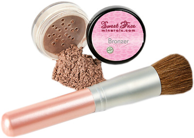 BRONZER With BRONZING BRUSH Mineral Makeup Bare Face Sheer Warmth Tanning Powder • 12.15£