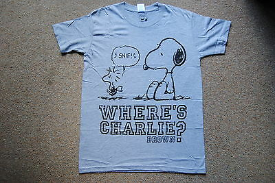 £9.99 • Buy Peanuts Where's Charlie Brown Grey T Shirt New Official Snoopy Woodstock Rare