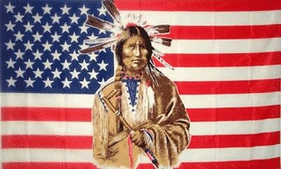 $8.95 • Buy Indian Brave US Flag 3x5 Ft USA United States America Native American Peace Pipe