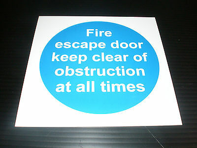 FIRE ESCAPE DOOR CLEAR OF OBSTRUCTIONS Fire Exit Safety Sign 100mm X 100mm • 0.99£