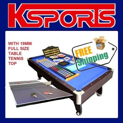 AU849.99 • Buy 8ft Pool Table Pub Size Mdf Snooker Billiard Table Blue With Table Tennis Top
