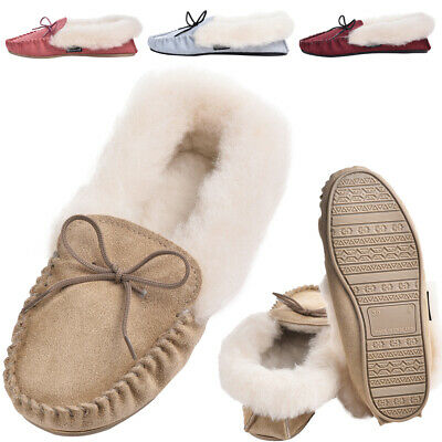 £24.95 • Buy Ladies Fluffy Sheepskin Moccasin Slippers UK Made Rubber Sole By Lambland