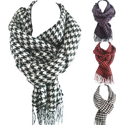 £4.95 • Buy Women&men's Black&white Houndstooth Scarf Wrap Check Plaid Soft Long Scarves HOT