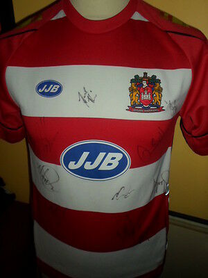 2006-Squad Signed Wigan Warriors Home Rugby Super League Shirt With COA • 49.99£