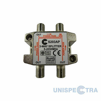 3 WAY SPLITTER TV CABLE NTL SKY VIRGIN DBOX SATELLITE 5-2050MHz WITH DC PASS • 3.24£