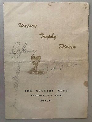 IBM Founder Thomas Watson D.56 Lefty Gomez Signed Autograph 1947 Award Program X • 286.10£