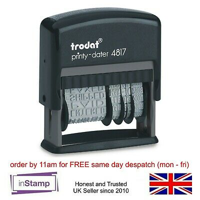 £11.95 • Buy Trodat 4817 Self Ink Dial A Phrase Date Stamp Multi Word Paid Received Entered