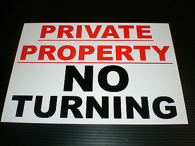 Private Property No Turning A4 A5 A6 Choice Of Plastic Or Metal Sign Or Sticker • 3.99£