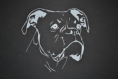 15cm BOXER DOG HEAD CAR STICKER DECAL BOXERS MOTHERS DAY BIRTHDAY GIFT PRESENT • 3.75£