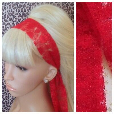 £2.99 • Buy RED FLORAL LACE 50s VINTAGE 80s RETRO STYLE HEAD SCARF HAIR BAND SELF TIE BOW