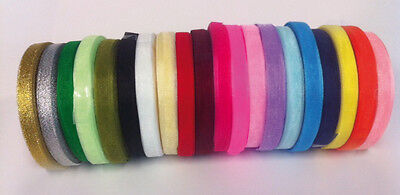 50 Yard/46 Mtr Roll Of Sheer Organza Ribbon - 6 & 10mm Width - Many Colours • 1.80£