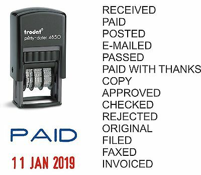 £9.95 • Buy Date Rubber Stamp Paid Posted Received E-mailed Copy Self-inking Trodat 4850