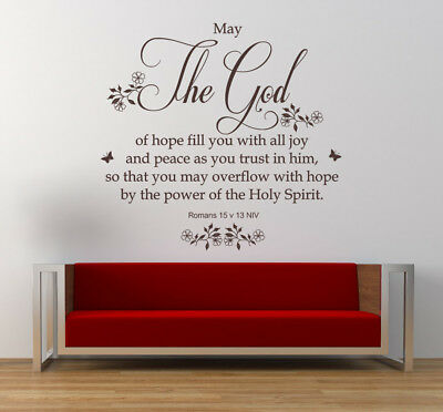 Romans 15 V 13 - Bible Quote, Christian Vinyl Wall Art Stickers, Bedroom, Lounge • 21.99£