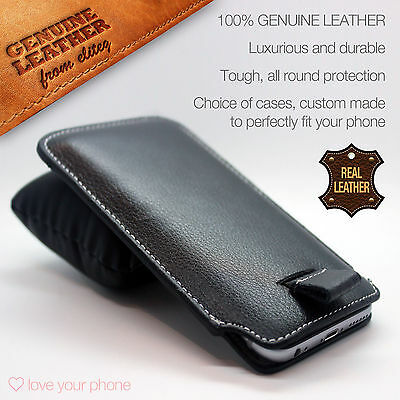 £5.75 • Buy Black Genuine Real Leather Pull Tab Slide In Pouch Case Cover Sleeve Holster