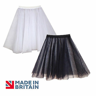 Plus Size Rock & Roll Black 2 Layers  Net Skirt 21  Circle Under Skirt Petticoat • 8.99£
