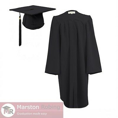 Black Adult Graduation Gown & Hat For College And University- Zipped Front • 23.50£