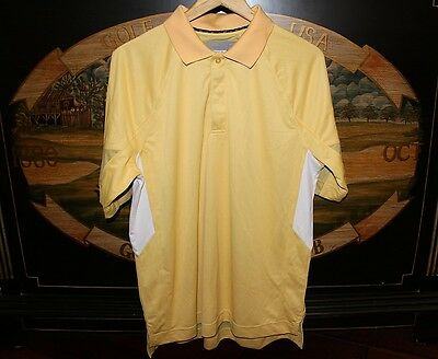$4.99 • Buy Mens Large Yellow Gold Golf Polo Shirt DryTec Cocona Cutter & Buck