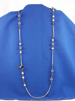 Betsey Johnson Iconic Celestial Purple Crystal Ball Faux Pearl Station Necklace • 24.49$