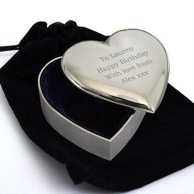 £11.99 • Buy Personalised Heart Trinket Box In A Velvet Pouch-Engraved Free- For Mum, Sister