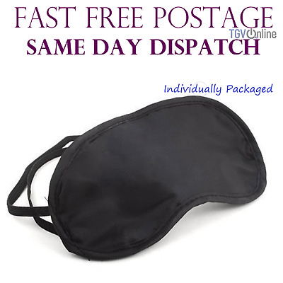 AU6.95 • Buy 10 X Travel Eye Masks, Sleep Sleeping Cover Rest Eyepatch Blindfold (black) New