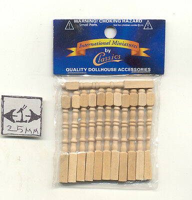 $6.99 • Buy Spindles Balusters CLA70207 Wooden Dollhouse Miniature 12pc