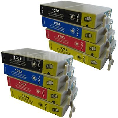 8 CiberDirect Replacements For Epson T1285 Printer Ink Cartridges - VAT Invoice • 11.17£