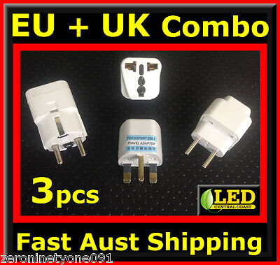 AU21.24 • Buy  AUS NZ To  EU EURO UK Combo Power Plug Travel Adaptor Converter 3 Types