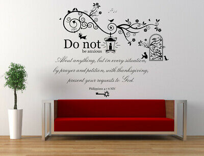Philippians 4 V 6 NIV Bible Quote, Christian Vinyl Wall Art Stickers Decal Mural • 24.49£