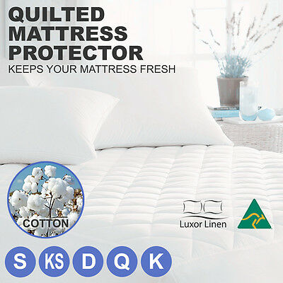 AU26.80 • Buy Aus Made Fitted Cotton Cover Quilted Mattress Protector Topper Underlay ALL SIZE