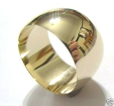 AU806.55 • Buy GENUINE 12mm 9CT YELLOW GOLD FULL SOLID EXTRA WIDE BAND RING SIZE U