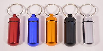 $4.49 • Buy Waterproof Aluminum Medicine Pill Container Case Key Chain Holder Ring 7 Colors