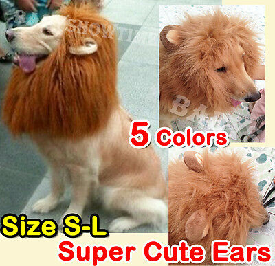 £5.19 • Buy Pet Costume Lion Mane Wig Dog Cat Halloween Clothes Fancy Dress Up With Ears #2