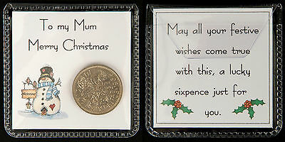 Lucky Sixpence Christmas Gift, Mum, Dad, Sister, Brother, Gran, Grandad • 2.25£