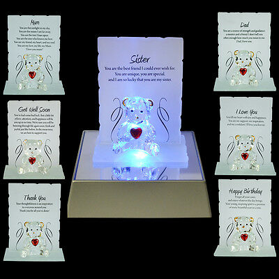 £5.95 • Buy New Engraved Glass Crystal Bear Gift Ornament Set Poem Poetic Writing Message