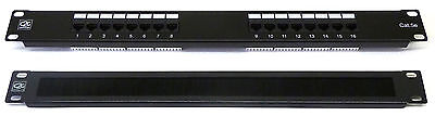 Cat5E 19  16 Port Patch Panel + Brush Cable Tidy Comms Rack Data Network Cabinet • 22.98£