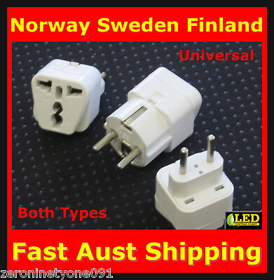 AU15.77 • Buy  AUS NZ To NORWAY SWEDEN FINLAND Power Plug Travel Adaptor Converter Both Types