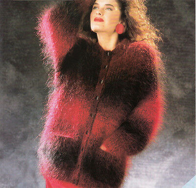 Ladies  Long Mohair Cardigan Knitting Pattern • 1.99£