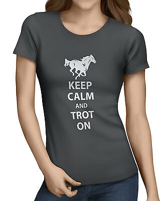 Keep Calm And Trot On Womens  Funny Horse Riding T-Shirt 10 Colors All Sizes. D2 • 9.99£