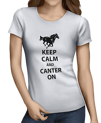 Keep Calm And Canter On Womens  Funny Horse Riding T-Shirt 10 Colors XSm/XXL. D2 • 8.99£