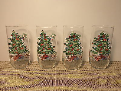 $9.95 • Buy Tienshan Dinnerware Holiday Hostess Pattern Set Of 4 Glass Tumblers 5 7/8