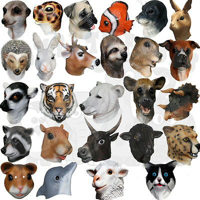 Fancy Latex Animal Rat Dalmatian Pig Goat Farmyard Party Props Halloween Masks  • 15.50£